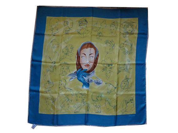 Moschino Vintage women faces silk scarf in di Leschosesdemanu