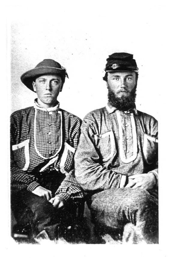 Two Trans-Mississippi men in battle shirts