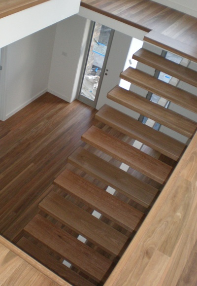 These stairs are made with Spotted Gum. I lovr this but of course id need rails.