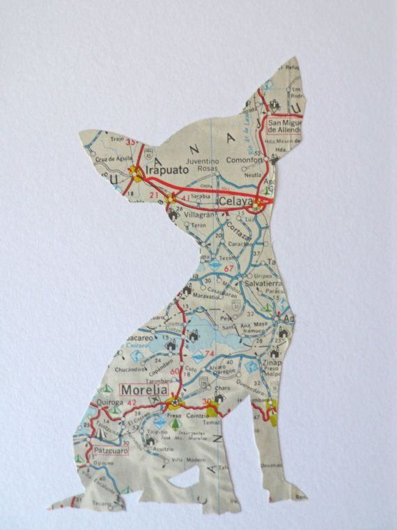 Mexican Chihuahua made from a vintage mexican map  by SewPaperArt on Etsy.
