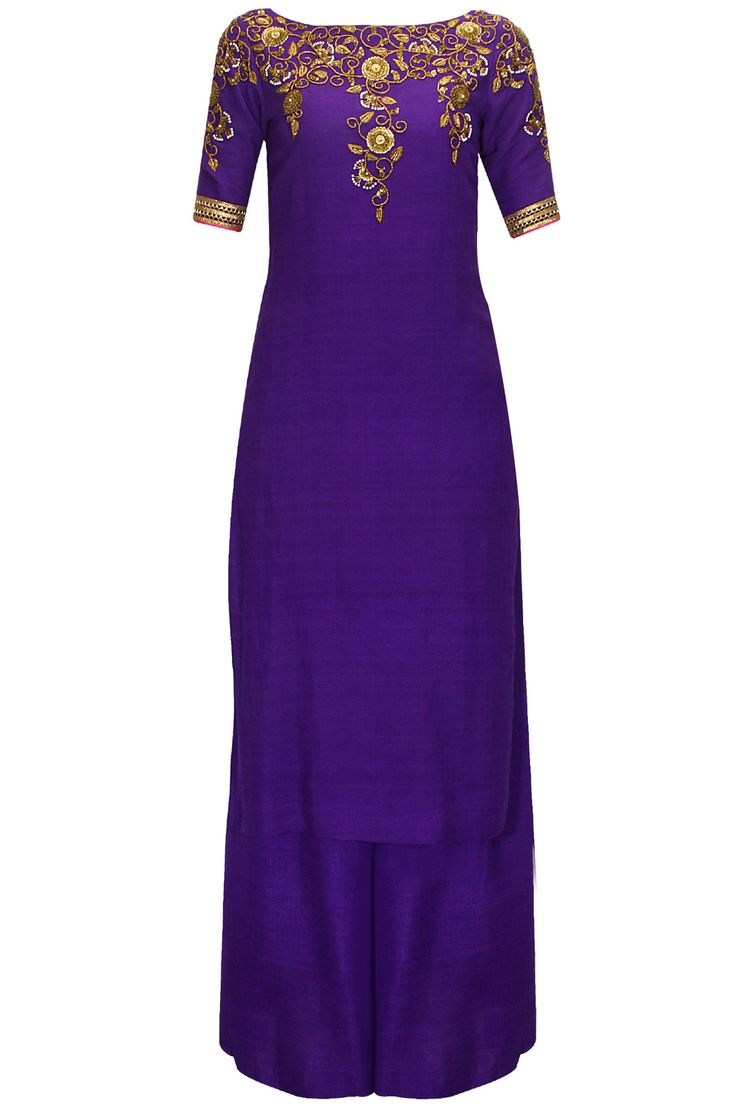 Deep violet embroidered kurta with palazzo pants available only at Pernia's Pop-Up Shop.