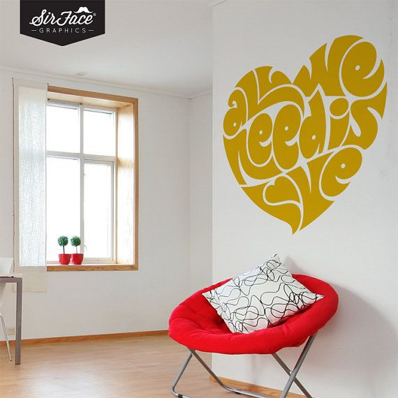 All You Need Is Love Wall Decal  Typography by SirFaceGraphics, £27.40