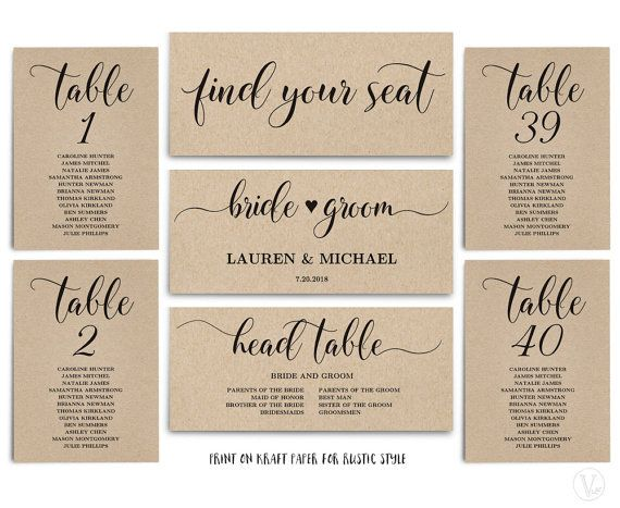 Rustic Wedding Seating Chart template, Header Signs and Table Signs 1-40, Printable Wedding Table chart, INSTANT DOWNLOAD, SC008