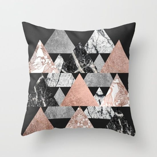 Rose gold and marble silver and floral geometric triangles. Throw Pillow made from 100% spun polyester poplin fabric, a stylish statement that will liven up any room. Individually cut and sewn by hand, each pillow features a double-sided print and is finished with a concealed zipper for ease of care. Sold with or without faux down pillow insert.