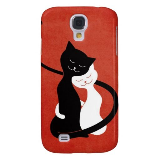 Cute White And Black Cats In Love Galaxy S4 Cover #love #cats
