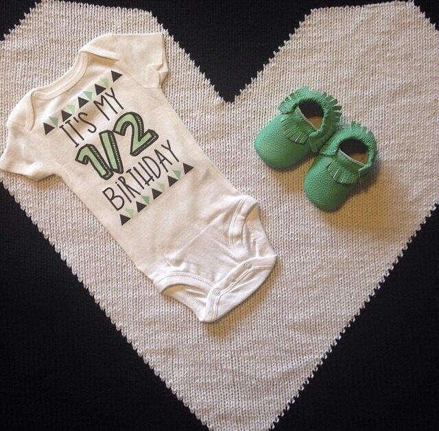 Half Birthday Bodysuit Babies Shirt Photo Shoot Prop 6 Month Custom
