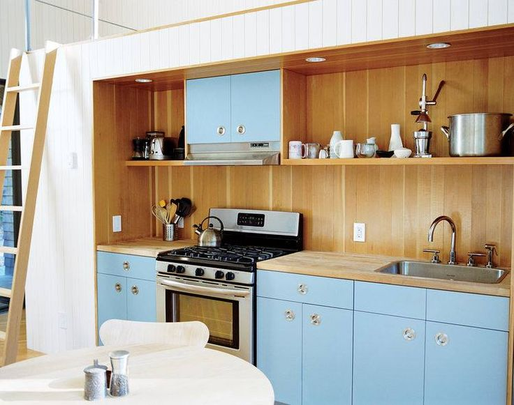 DP153-SSS Circular pull recessed into this beautiful baby blue kitchen. #kitchen #drawer #pulls #unique #dream #bright #color #blue #cabinets #design #decor #ideas  http://www.mockett.com/drawer-pulls-knobs-door-handles/stainless-steel/dp153-sss.html