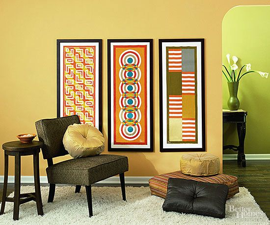 Reimagine textiles as wall art by placing scarves inside picture frames. Display coordinating patterns together for an entire gallery of artistic neckware.