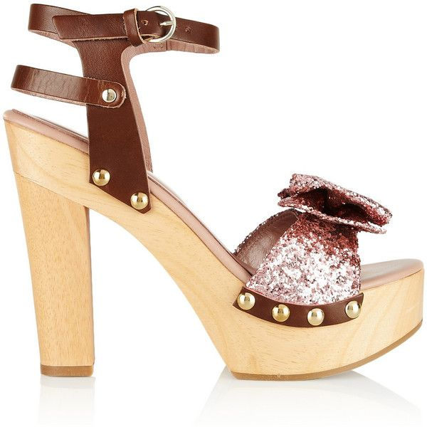 REDValentino Glitter-finished leather sandals ($90) ❤ liked on Polyvore featuring shoes, sandals, chocolate, wooden high heel sandals, leather shoes, high heeled footwear, glitter sandals and studded sandals