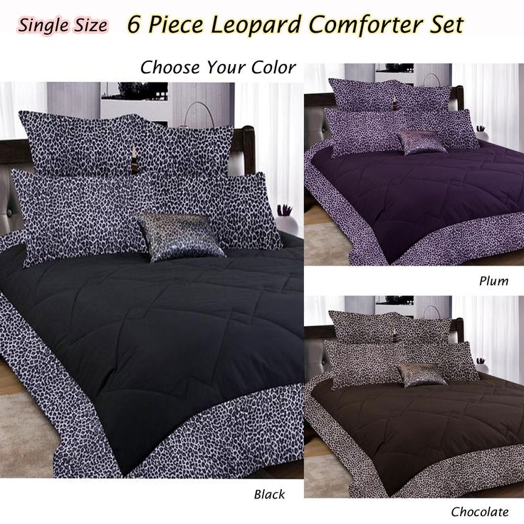 6 Pce Leopard Comforter Set Single