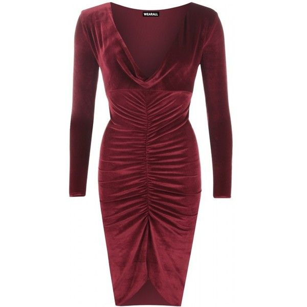Nerissa Cowl Neck Velour Dress ($31) ❤ liked on Polyvore featuring dresses, red ruched dress, plunge dress, long sleeve velour dress, cowl neck dress and shirred dress