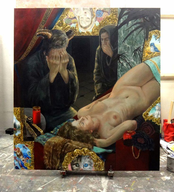 Another is Dying due to Shallow Society, Klara Sedlo, oil on canvas, 180x200cm, 2017 #oilpainting #figurative #art #devil  #klarasedlo #symbolism #mystical #darkart #mysticalart #dark #fairytale #darkfairytale #modernsymbolism