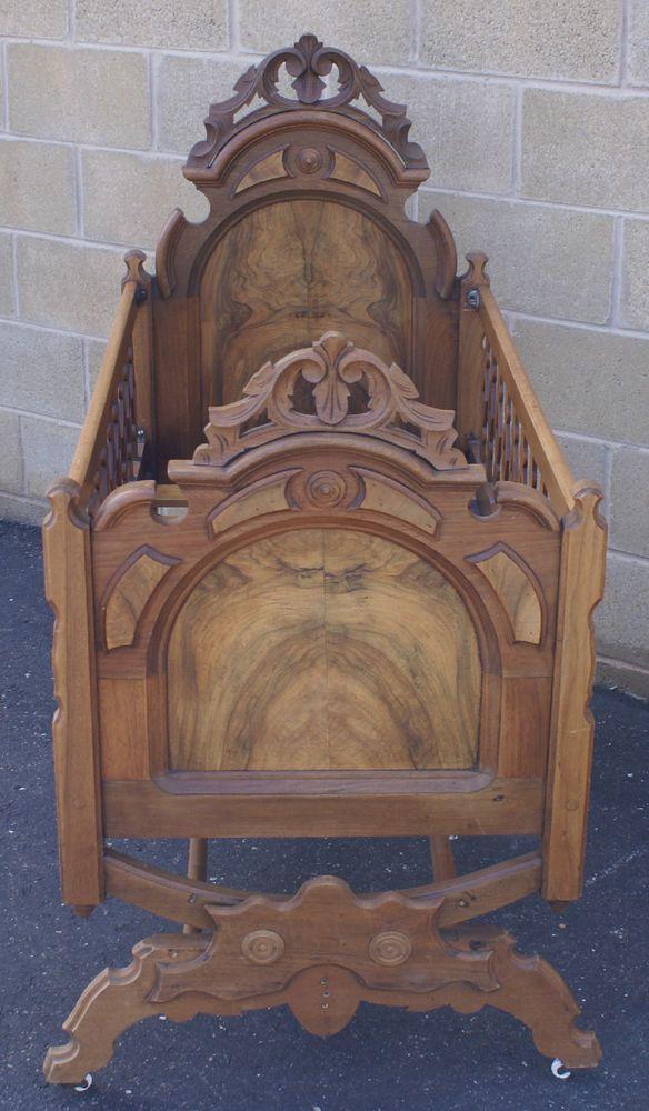 C.1890's Walnut & Burl Victorian, Renaissance Revival Rocking Crib Cradle Bed  #Victorian #Unknown