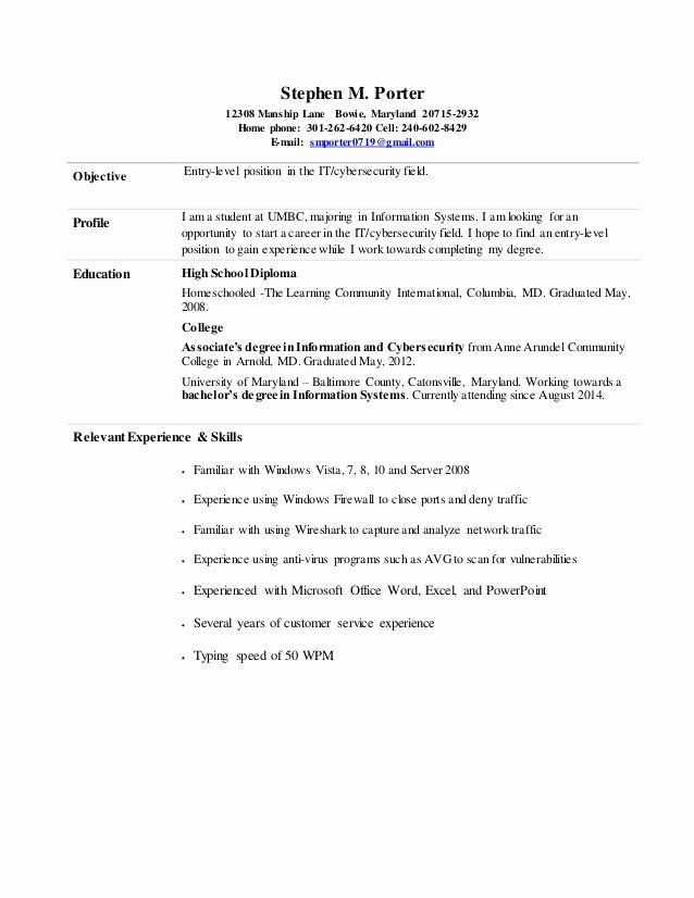 Cyber Security Analyst Resume New Stephen Porter Entry Level Information Cyber Security Resume Security Resume Job Resume Samples Job Resume Examples