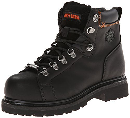 Harley-Davidson Women's Gabby St Work Boot, Black, 7.5 M US. Premium full grain leather. Steel toe ASTM F2413-11 M I/75 C/75 EH. Full length cushioned sock lining for all day comfort. Individually fitting left and right safety toe caps. Goodyear welt construction, oil and slip-resistant outsole.