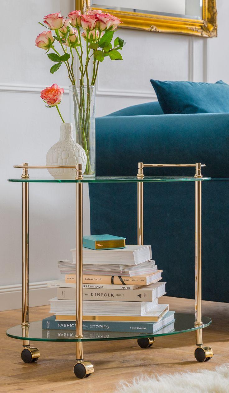 Goldener Servierwagen mit Glasplatten f�r das Wohnzimmer