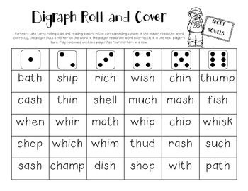 Free! Roll and Cover game  decoding the digraphs th, sh, wh, ch.