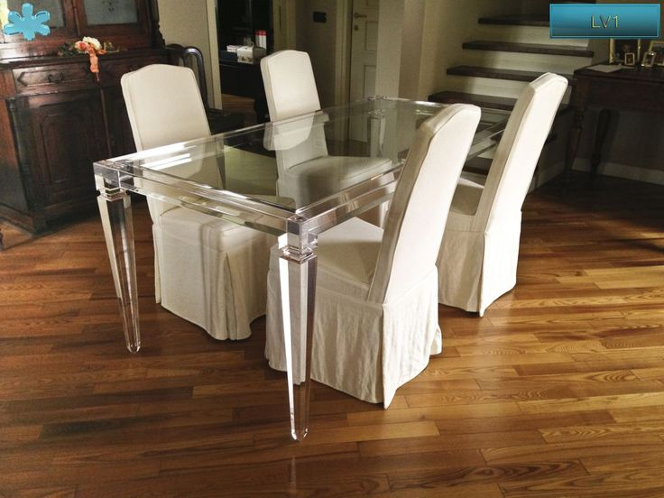 Lucite Acrylic dining table - TAVOLI PRANZO IN PLEXIGLAS | Tavolo trasparente in plexiglass 01.mod. LV1 | Tavolo plexiglass cm.180 x 90 h.76 - telaio sp.mm.60 - gambe sez.mm.80