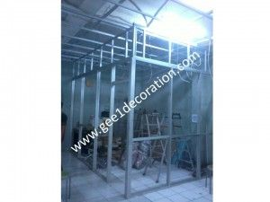 aluminium, kaca, stainless, panel pvc dan gypsum