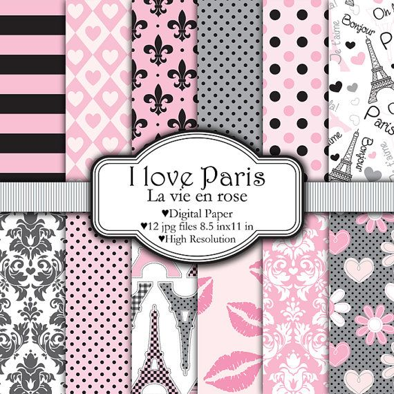 I Love Paris Set de papeles digitales por pixelpaperprints en Etsy, $4.25