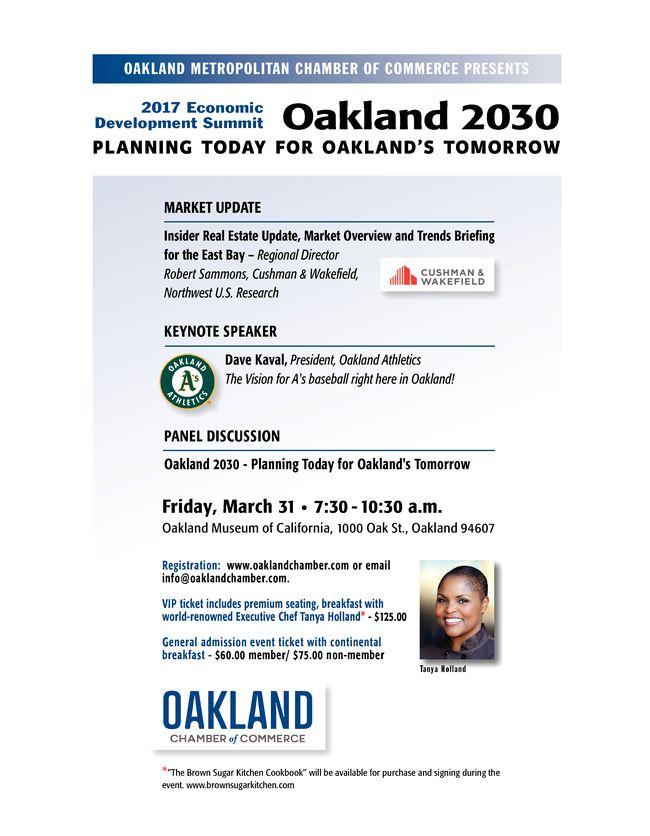 "Annual Economic Development Summit - ""Oakland 2030"" - Mar 31, 2017 - Oakland Metropolitan Chamber of Commerce,CA"