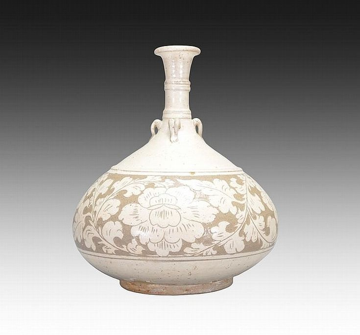 A CARVED CIZHOU VASE - The jar is pear-shaped. The exterior is decorated with lotus flowers connected by vines and leaves, the jar is also designed with multiple small handles. The jar has a pale white tone.