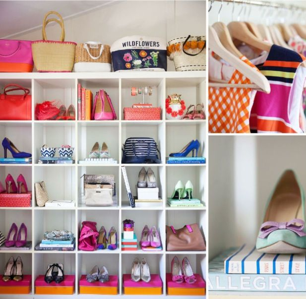 Display Ideas For Handbags: Colorful Closet :: Shoe + Handbag Display [via Adore Home