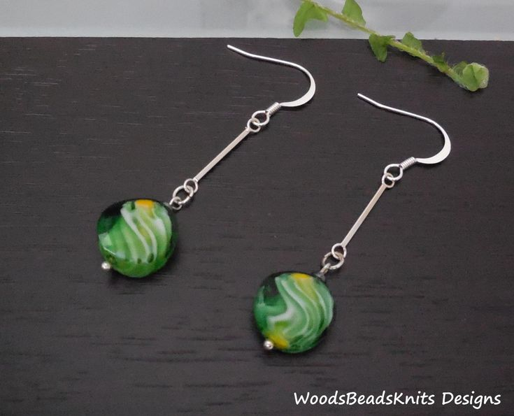 Geometric Earrings, Minimalist Earrings. Green Earrings, Glass Beads, Silver Plated Brass, Nickel Free Lead Free Hooks, St Patrick Day Gift