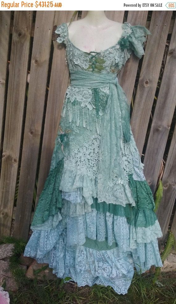 "20% OFF boho wedding dress formal brides maid bohemian lagenlook gyspy vintage  ..38'' to 44"" bust.."