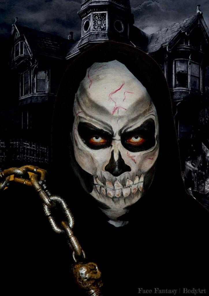 Skull makeup Facepaint Halloween schmink Skelet