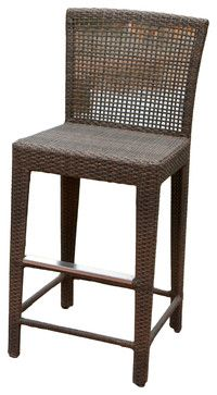 Arizona Outdoor Wicker Bar Stool - tropical - Outdoor Stools And Benches - Great Deal Furniture