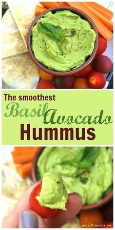 "Basil Avocado Hummus [Recipe] - the ""secret"" to making store bought-smooth hummus at home!"