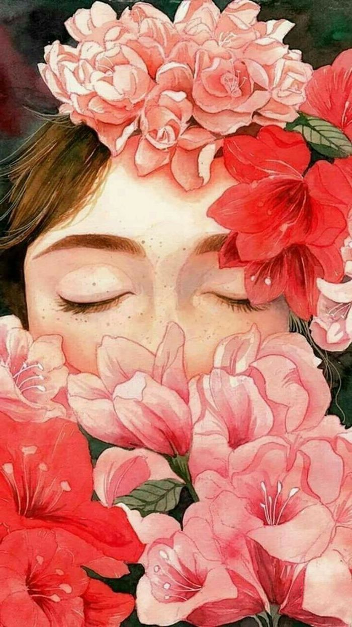 Girl With Closed Eyes Surrounded By Pink Red Flowers Rose Drawing Easy Colored Painting In 2020 Painting Wallpaper Painting Art Projects Art Painting