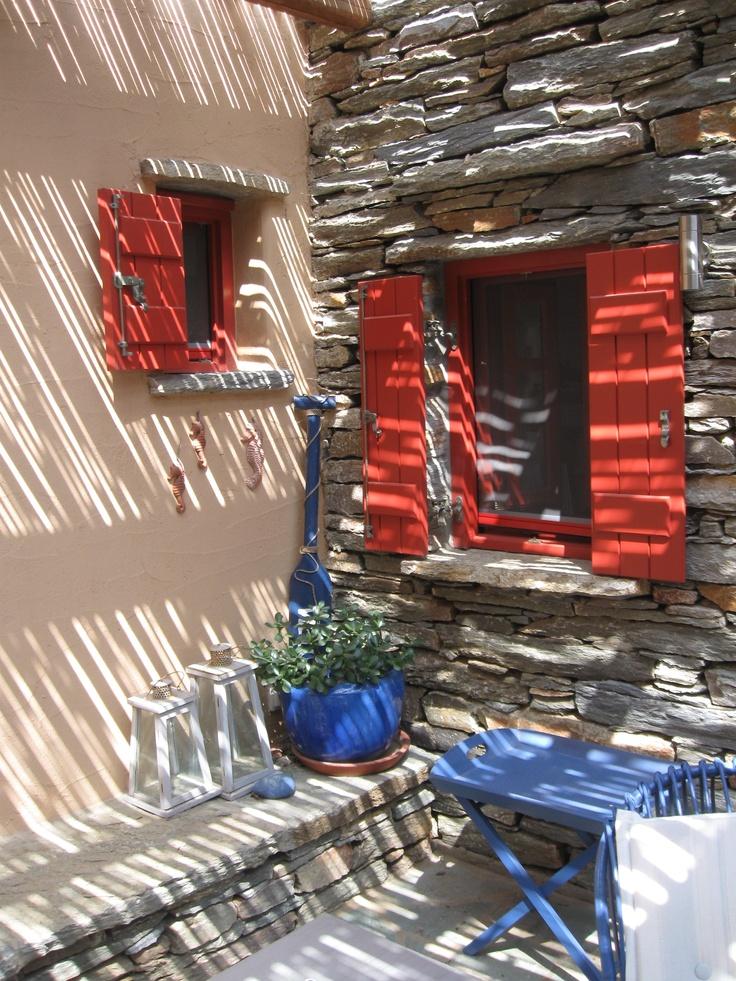 Back porch, stone house, Otzias, Kea, Cyclades islands, Greece