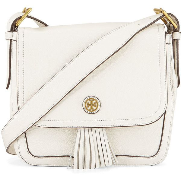 Tory Burch Frances Pebbled Leather Saddle Bag ($475) ❤ liked on Polyvore featuring bags, handbags, shoulder bags, purses, bolsas, new ivory, tory burch purse, flap purse, drawstring handbags and white handbags