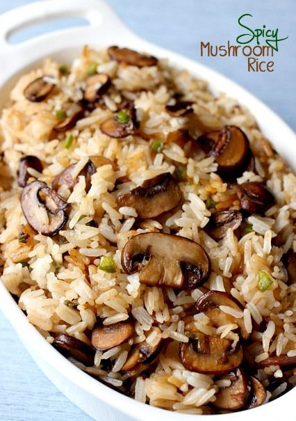 Spicy Mushroom Rice is an easy, and healthy side dish for any meal. Just substitute brown rice for white (or a mix of black and brown if you're adventurous), and I recommend Bragg's Liquid Aminos instead of soy sauce for extra nutrition.