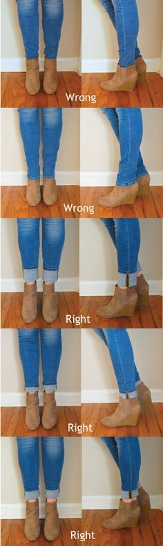 There is no right or wrong way to cuff your jeans! This is just an easy reference graphic that may be of help. But here are some tips on different cuffs you can do with different kinds of booties.