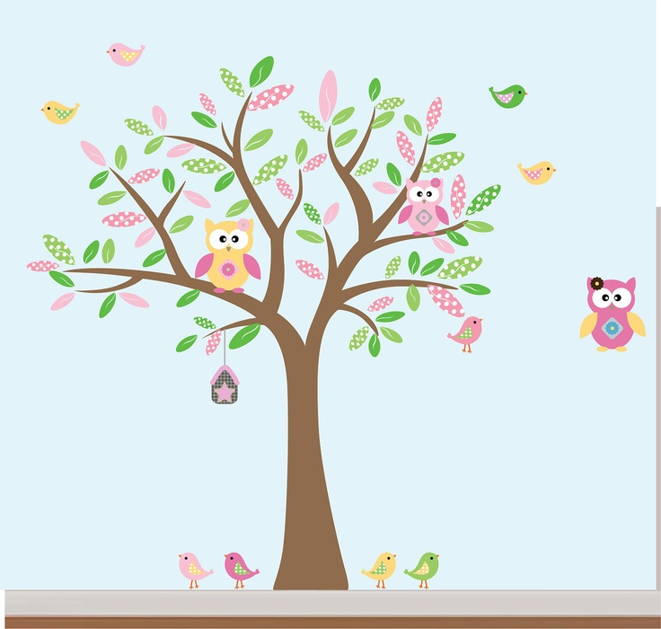Baby Girl Nursery Wall Decal Stickers Owl and Birds Tree Set Nursery Pattern Leafs. via Etsy.