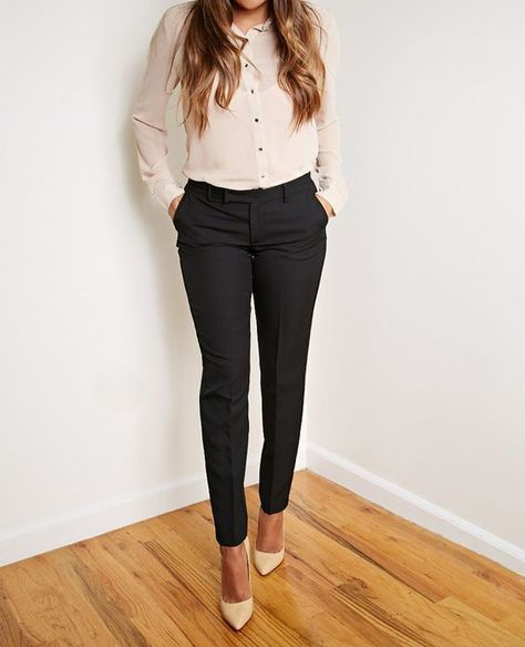 Neutral, long sleeve button-up top + black, skinny pants + neutral pointy to stiletto heels