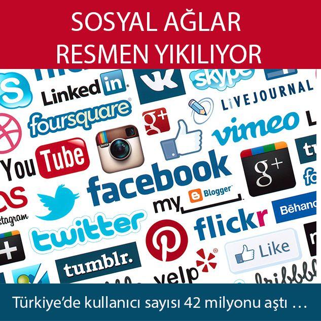 Türkiye'de sosyal ağlarda kullanıcı sayısı 42 milyonu aştı.    Günümüzde insanların olmazsa olmaz alışkanlıklarından biri olan sosyal ağlar ile ilgili veriler açıklandı. Interpress'in medyada çıkan haberleri inceleyerek yapmış olduğu araştırmaya göre, ülkemizdeki 79.14 milyonluk nüfusun, 46.3...   http://havari.co/sosyal-aglar-resmen-yikiliyor/