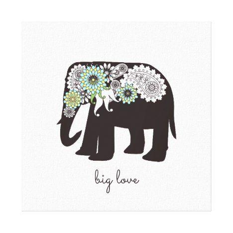 Paisley Elephant Elegant Cute Animal Love Custom Canvas Print #valentinesday #art #posters