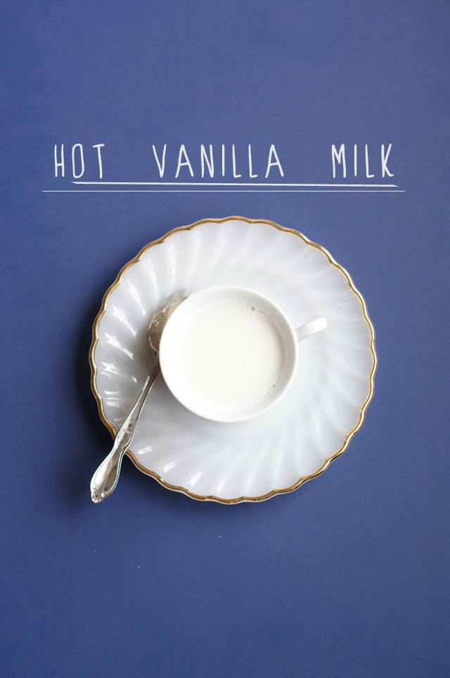 ~Hot Vanilla Milk~This is a gem of a drink. And so easy!    1 cup milk  1 1/2 tsp. vanilla  1 tbsp. sugar    Warm milk in the microwave or on the stove. Add vanilla and sugar. Optional: top with whipped cream, cinnamon, or chocolate sauce. Or just drink it straight-up like I like it!   Blankie & a movie, anyone?