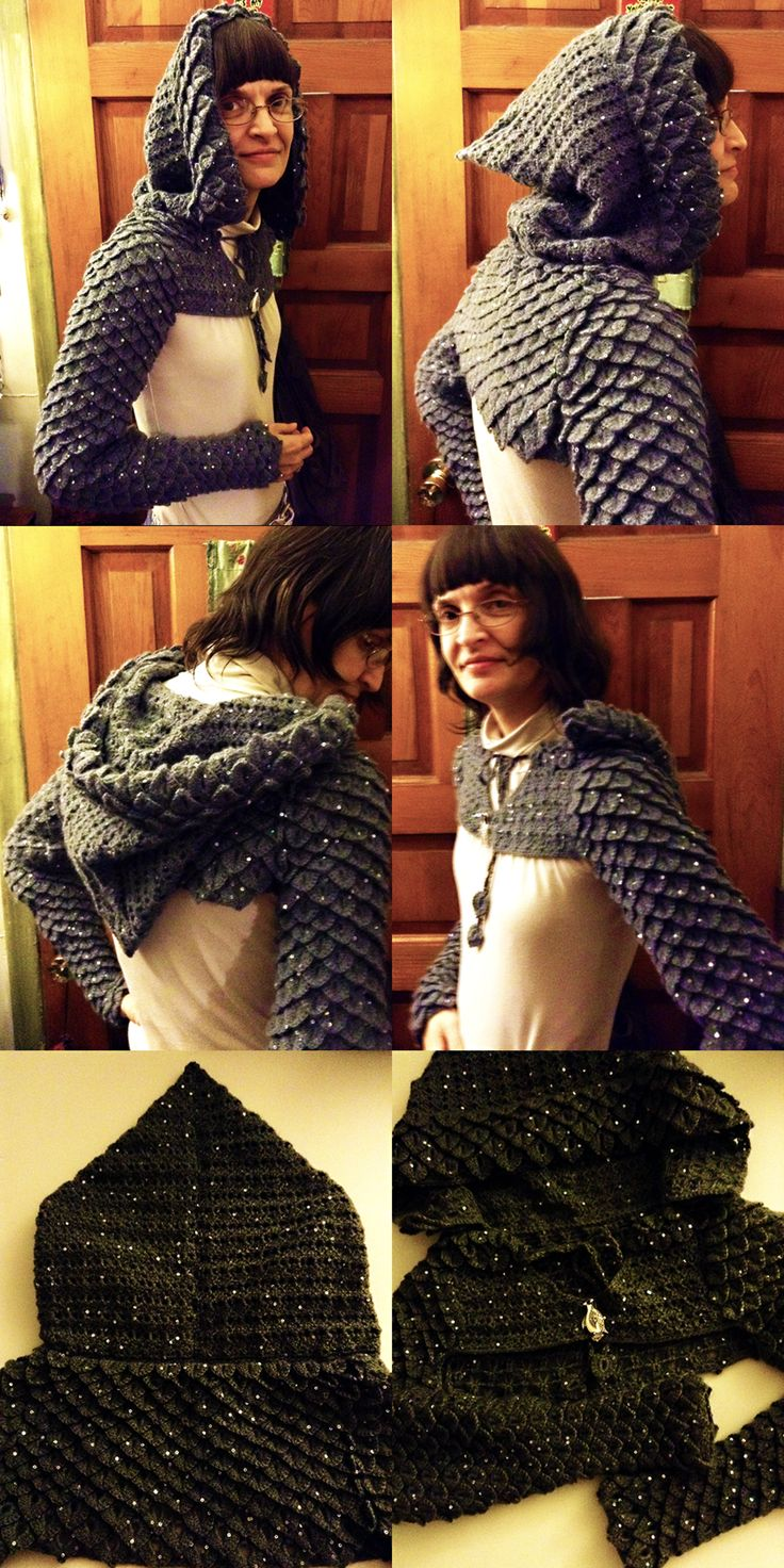 Crocheted Hooded Dragon Scale Shrug by MidknightStarr ...
