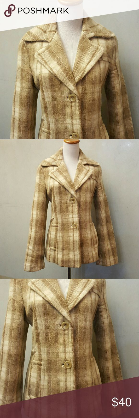 Banana Republic plaid Peacoat Banana Republic beige and taupe plaid Peacoat in perfect condition like new. Banana Republic Jackets & Coats Pea Coats