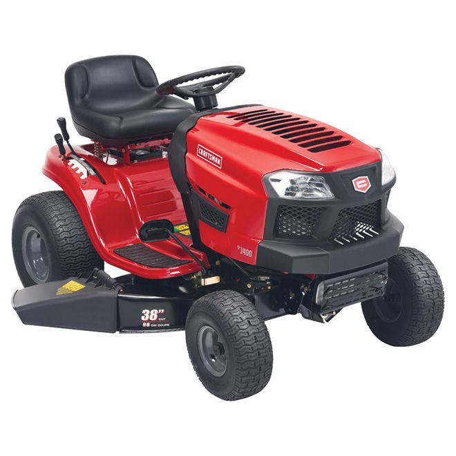 Craftsman Gas Powered Lawn Tractor 38 439 Cc Red And Black 13ab78xf593 Rona Lawn Tractor Tractors Lawn Mower