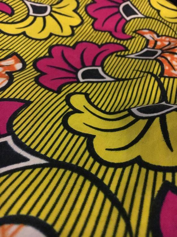 Yellow Ankara With Fucsia Ginkgo Flowers Cotton Bag 14x10in