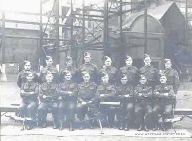 Hafod Colliery Home Guard, CO Les Waite front row 4th from left, Sgt Maj Fred Aspinall, 3rd from right front row, Bill Massey, 4th from left back row, Bill Heggarty 6th from left back row, Enoch Thomas, 7th from Left front row. 1941.
