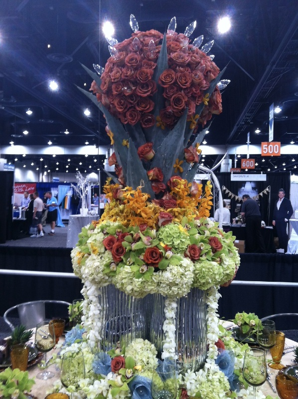 Large floral centerpiece with optional light display at the Tabletop Contest
