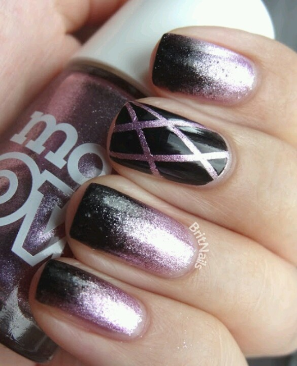 for the changing colors use a make up sponge to dab on and for the stripes, peeling nail tape