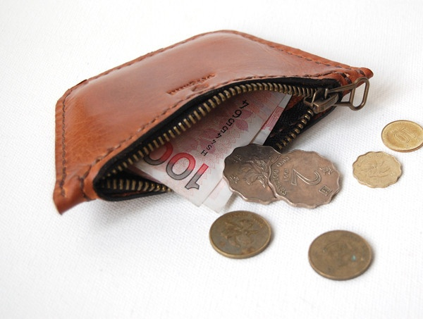 Coin Pouch - Cognac Leather - Large